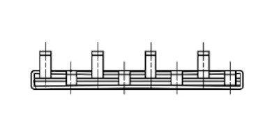 Kamrail 4 modules - 2 Polige pin